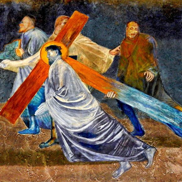 5. Station: Simon von Cyrene hilft Jesus, das Kreuz zu tragen