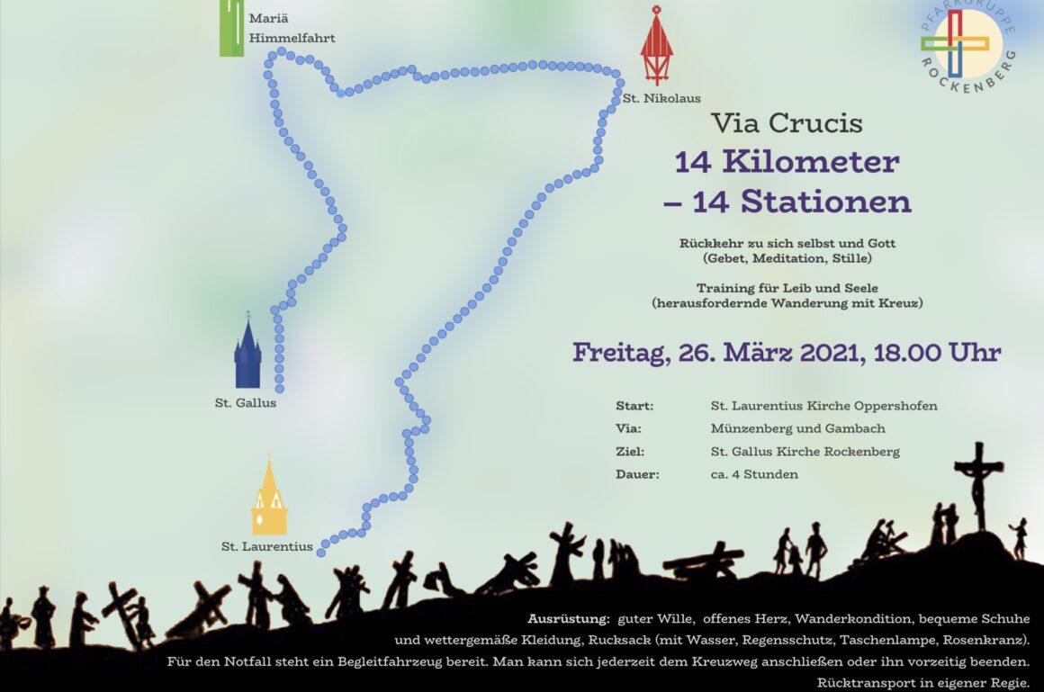 Via Crucis über Pfarrgruppe Rockenberg 14 Kilometer und 14 Stationen